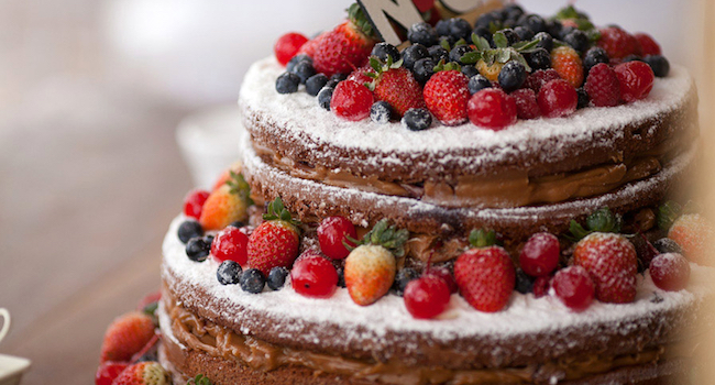 Beautiful chocolate cake with berries